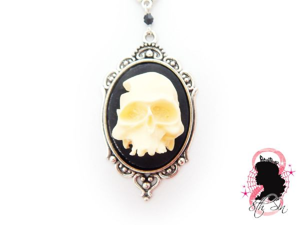 Antique Silver Human Skull Cameo Necklace
